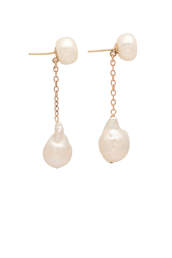 Chains and Pearls - Double Pearl and 14k Yellow Gold Chain Dangler Earrings