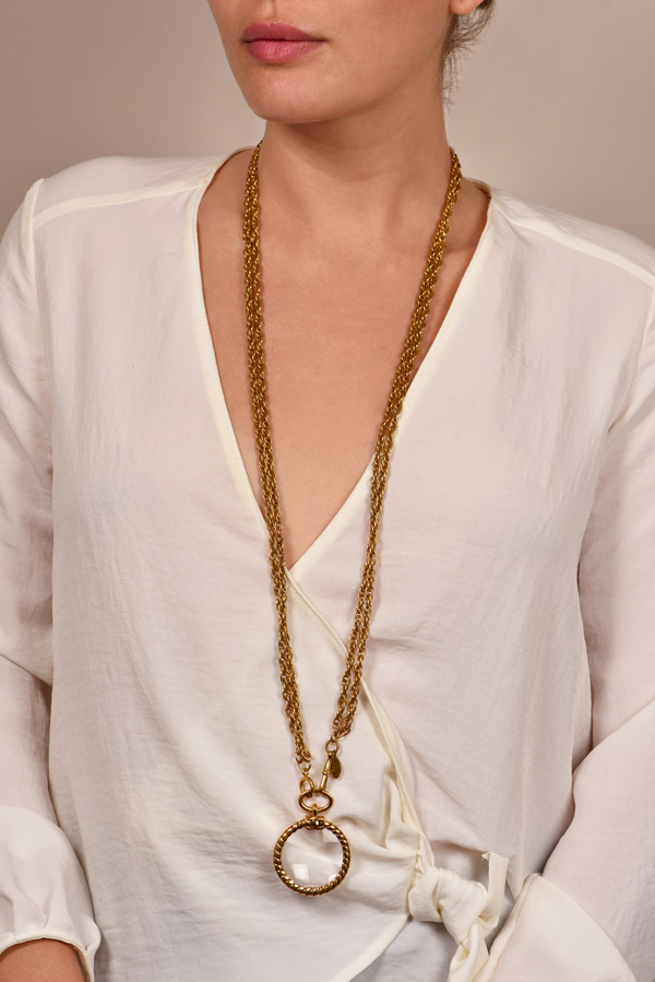 Chanel - Vintage Double Chain Glass Pendant Necklace View 1