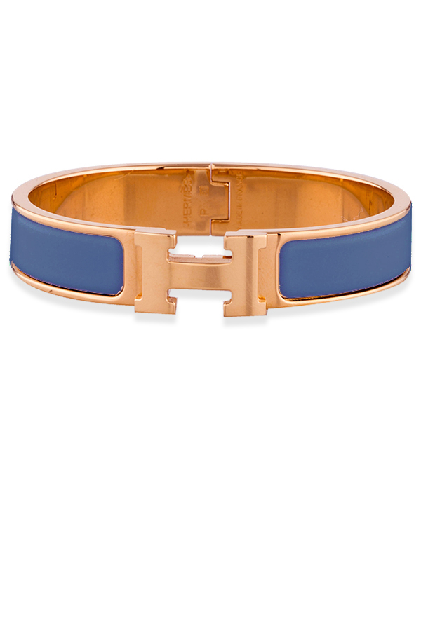 Hermes - Narrow Clic H Bracelet (Blue Turquin/Rose Gold Plated) - PM