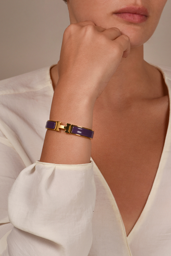 Hermes - Narrow Clic H Bracelet (Purple/Yellow Gold Plated) - PM