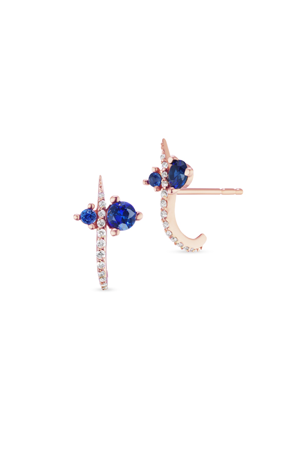 Sophie Ratner - Hooked Pave Studs with Sapphire