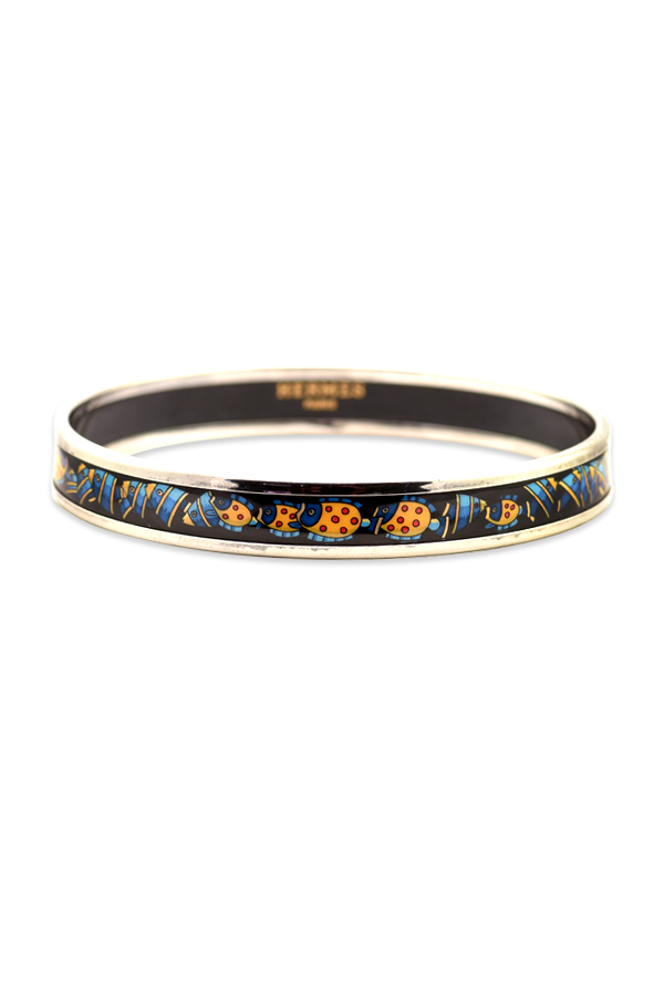 Hermes - Narrow Enamel Bangle (Fish Print/Silver)
