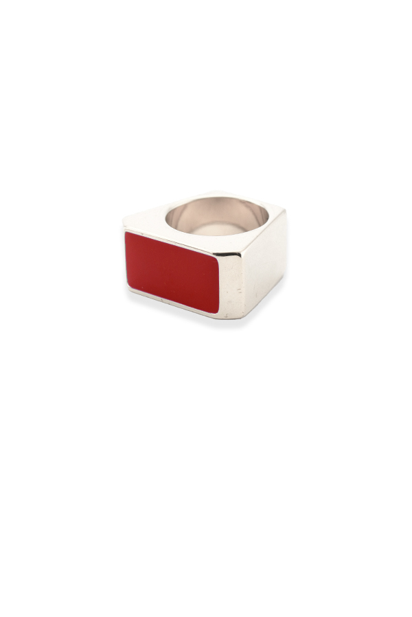 Yves Saint Laurent - Color Block Rectangle Ring (Red) - Size 4.5