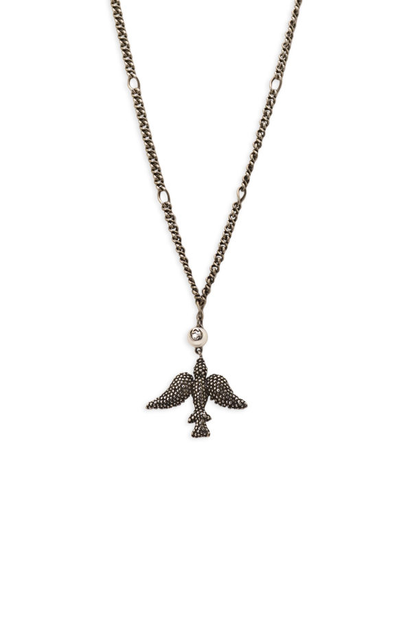 Gucci - Faux Pearl Bird Pendant Necklace View 1