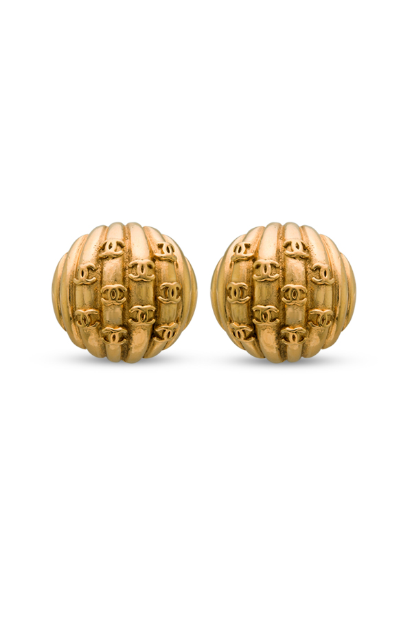 Chanel - Vintage Striped Dome CC Logo Clip On Earrings