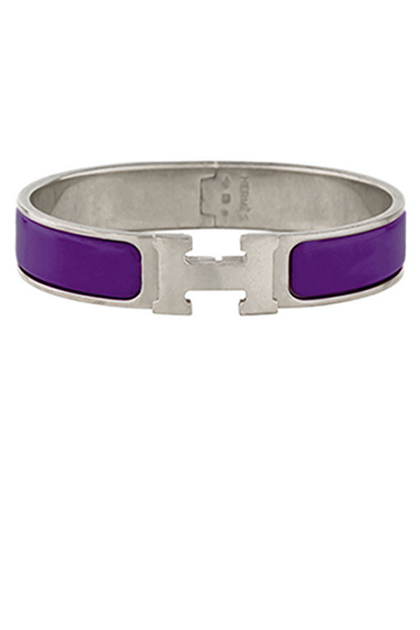 Hermes - Narrow Clic H Bracelet (Eggplant/Palladium Plated) - GM