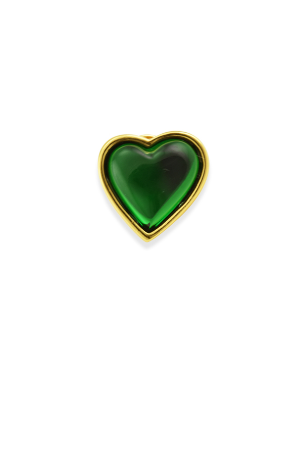 Yves Saint Laurent - Vintage Green Lucite Heart Brooch View 1