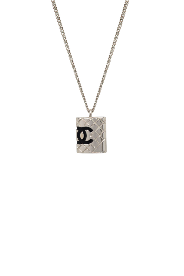 Chanel - Quilted CC Rectangle Charm Pendant Necklace (Silver-tone)