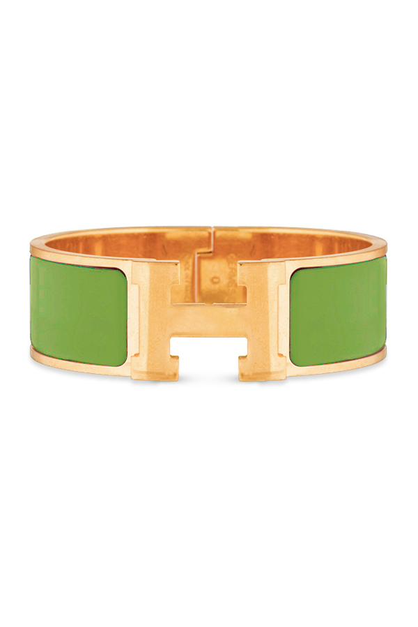 Hermes - Wide Clic H Bracelet (Lime Green/Yellow Gold Plated) - PM