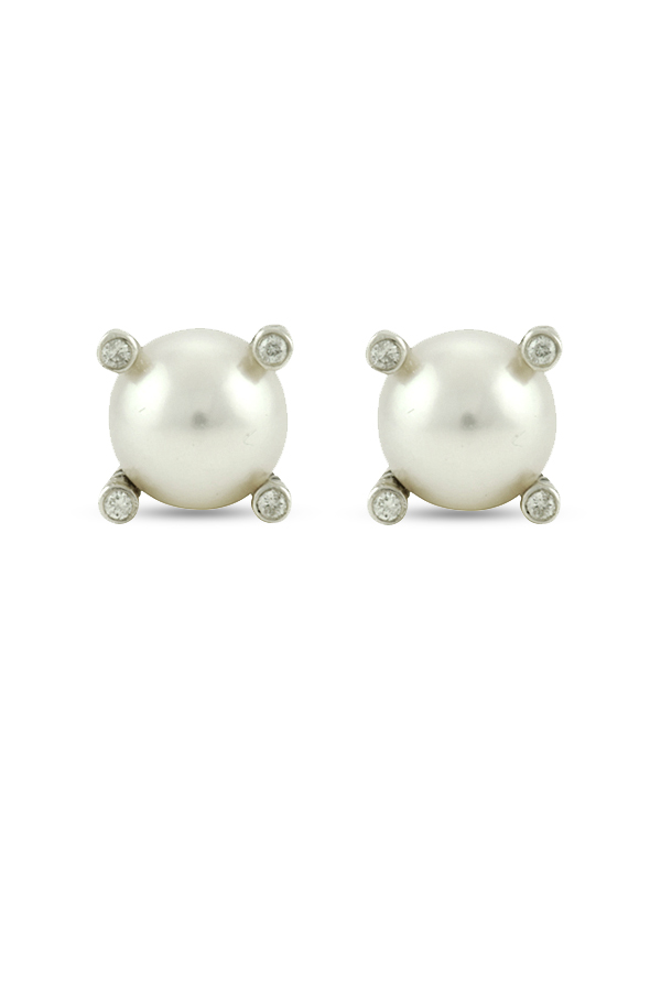 David Yurman - Pearl And Diamond Stud Earrings View 1