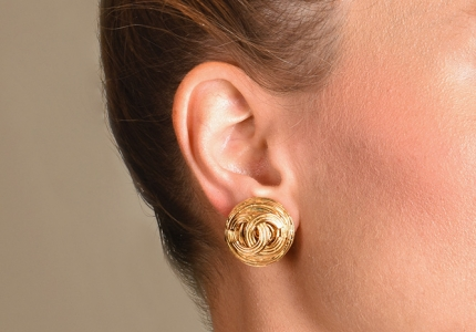 Chanel - Small CC Weave Clip On Earrings