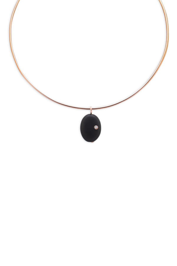 Chains and Pearls - Onyx and Diamond Wire Choker (14k Rose Gold)