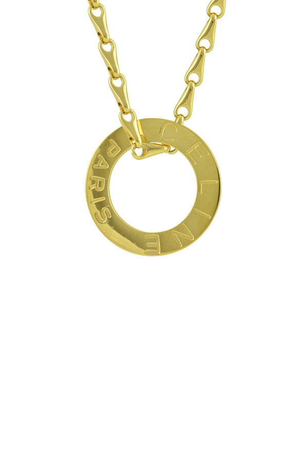 Celine - Vintage Large Round Logo Pendant Necklace View 1