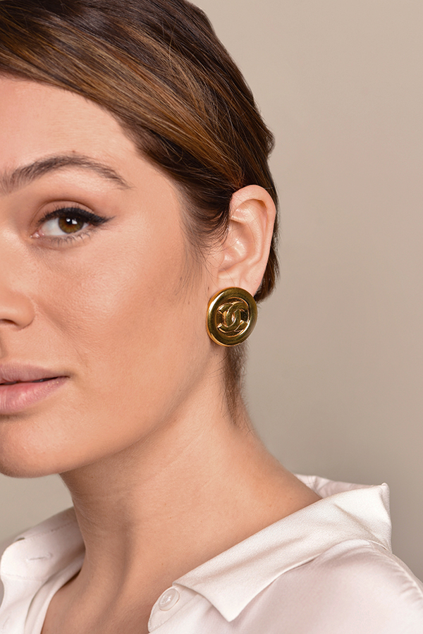 Chanel - Large Gold CC Logo Clip On Earrings