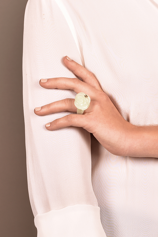 Chanel - Mint Lucite Flower Ring - Size 6.5
