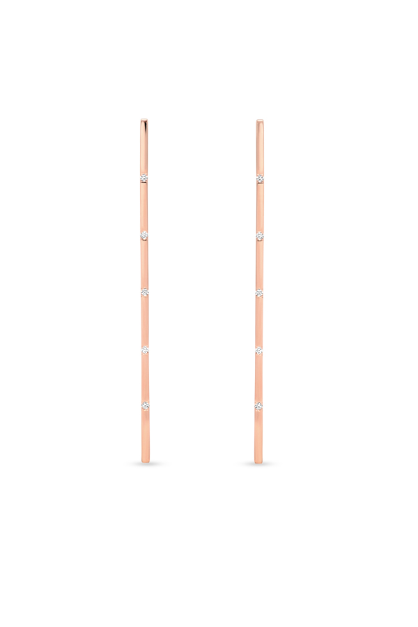 Switch - Simple Diamond Long Bar Earrings  18k Rose Gold  View 2
