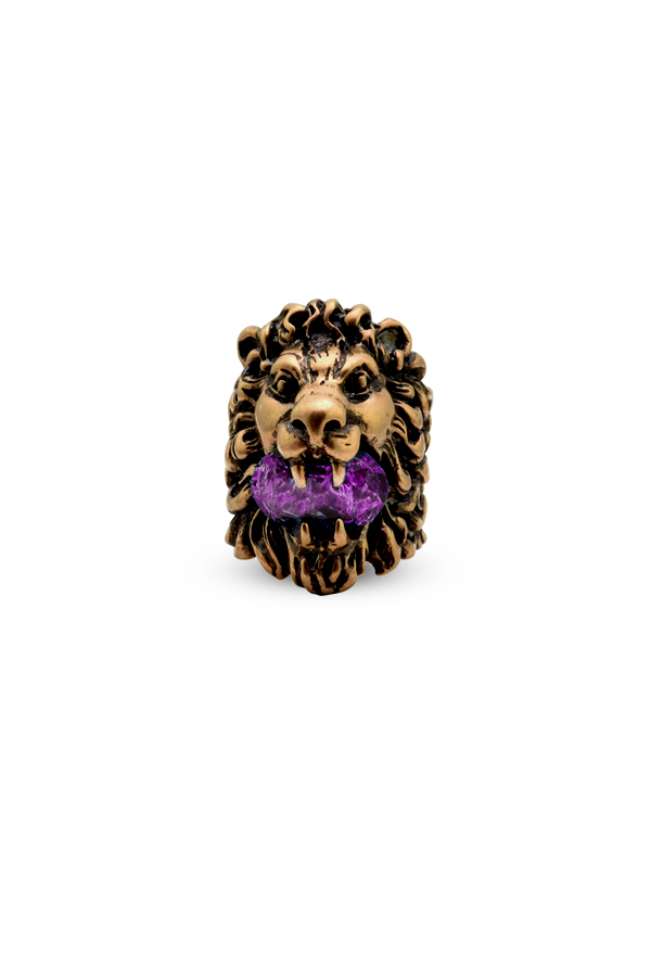 Gucci - Lion Head Ring With Purple Swarovski Crystal - Size 7.5