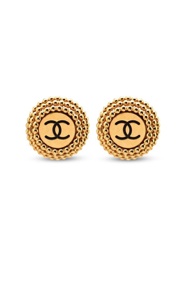 Chanel - Vintage CC Logo Beaded Clip On Earrings