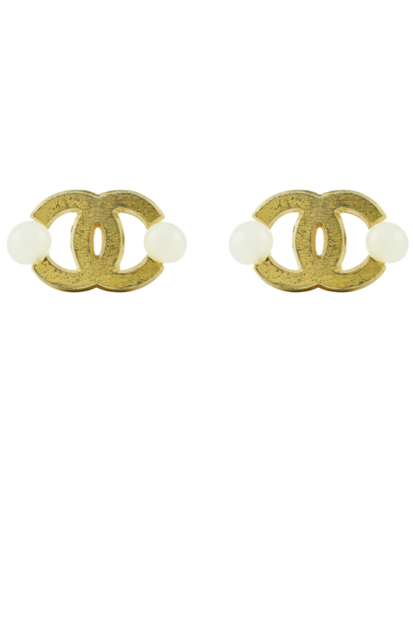 Chanel - CC logo Clip Ons with Embellishments