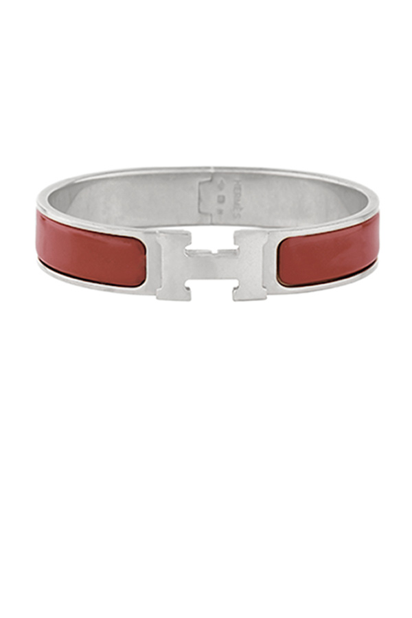 Hermes - Narrow Clic H Bracelet  Dark Red Palladium Plated    PM View 1