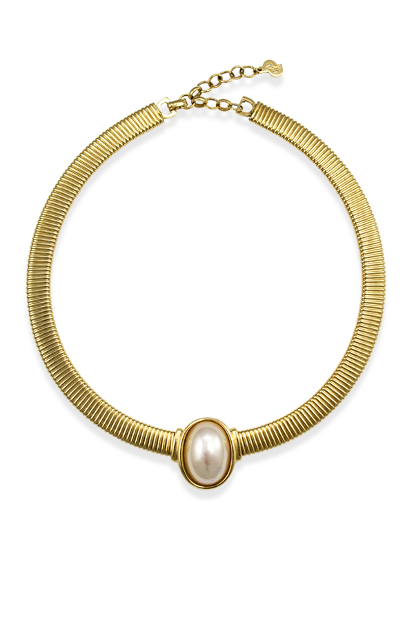 Christian Dior - Vintage Faux Pearl Omega Collar Necklace