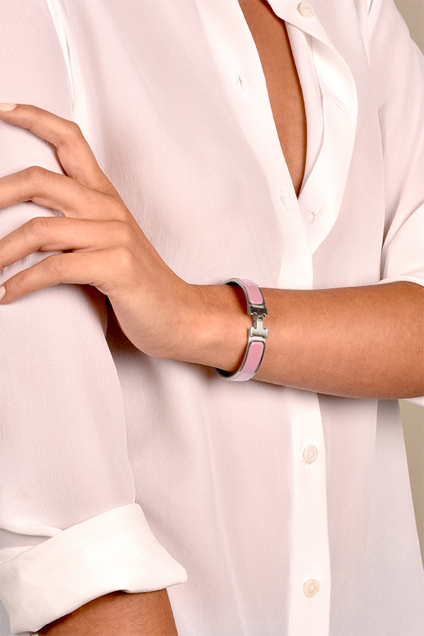 Hermes - Narrow Clic H Bracelet  Pink Palladium Plated  View 2