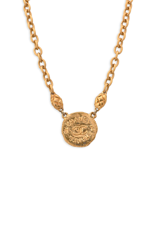 Chanel - Vintage Hammered Medallion Pendant Necklace View 1