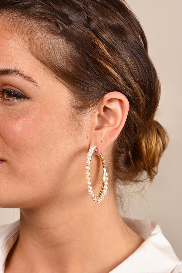 Chains and Pearls - Multi-Pearl Hoop Earrings