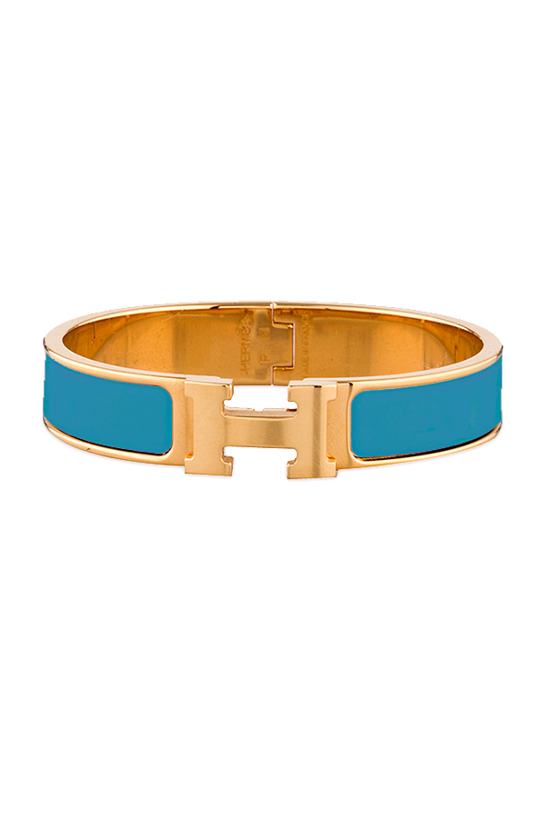 Hermes - Narrow Clic H Bracelet (Teal/Yellow Gold Plated) - GM