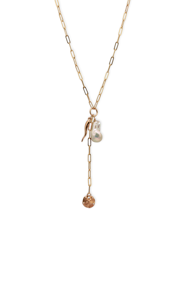 Chains and Pearls - Baroque Pearl and Charm Lariat Necklace