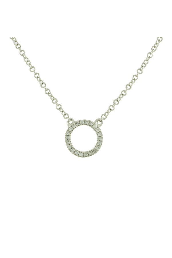 Yu  - Diamond Circle Necklace  14k White Gold  View 1
