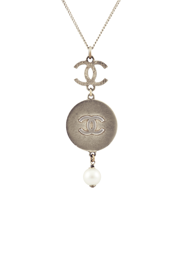 Chanel - Vintage Silver Tone Logo and Medallion Pendant Necklace