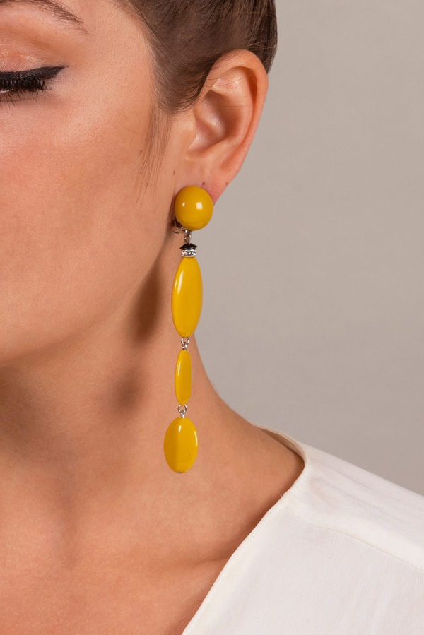 Angela Caputi - Resin Oval Dangle Earrings (Yellow)