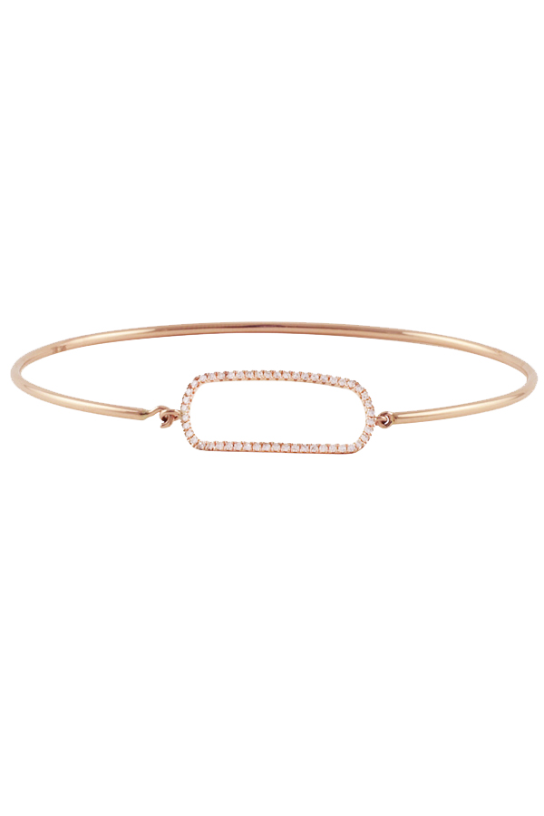 Yu  - Rose Gold Wire Bracelet With Diamonds (14k Rose Gold)