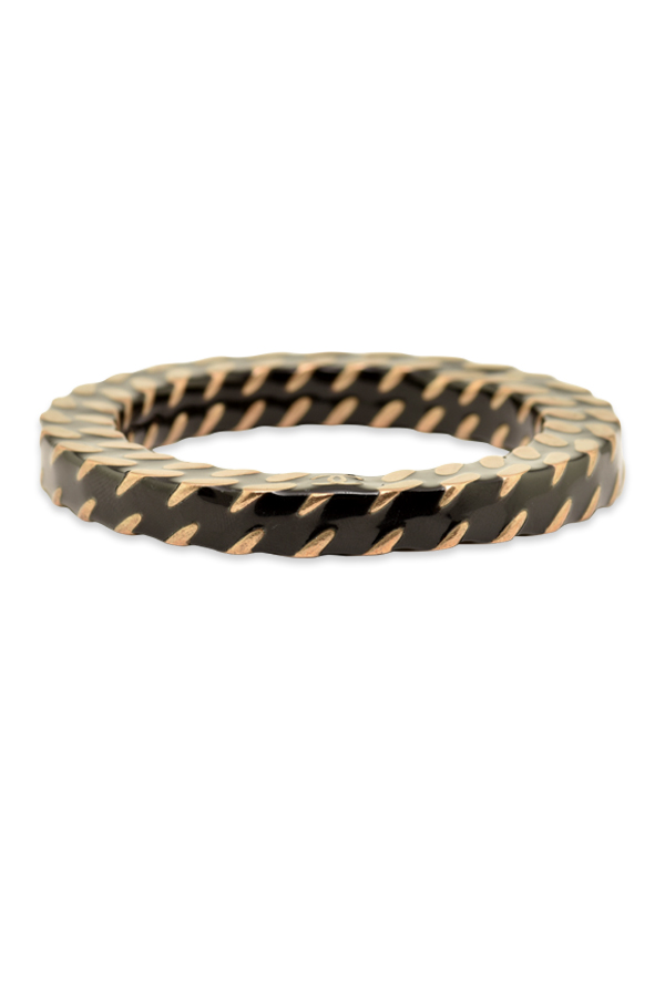 Chanel - Black and Gold Weave Bangle View 1