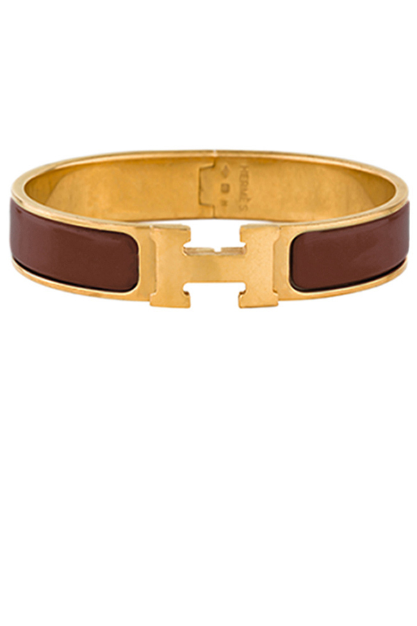 Hermes - Narrow Clic H Bracelet (Maroon-Dark Brown/Yellow Gold Plated) - PM