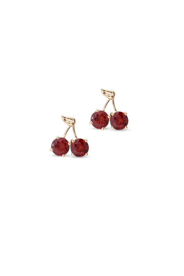 Do Not Disturb - The Bodrum Cherry Earrings (14k Yellow Gold and Garnet)