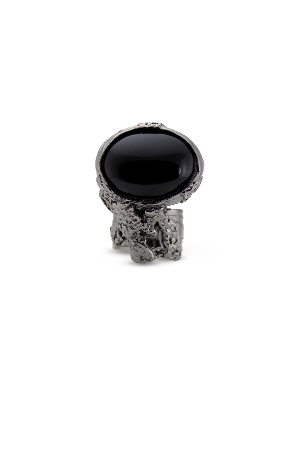 Yves Saint Laurent - Arty Oval Ring (Onyx) - Size 6