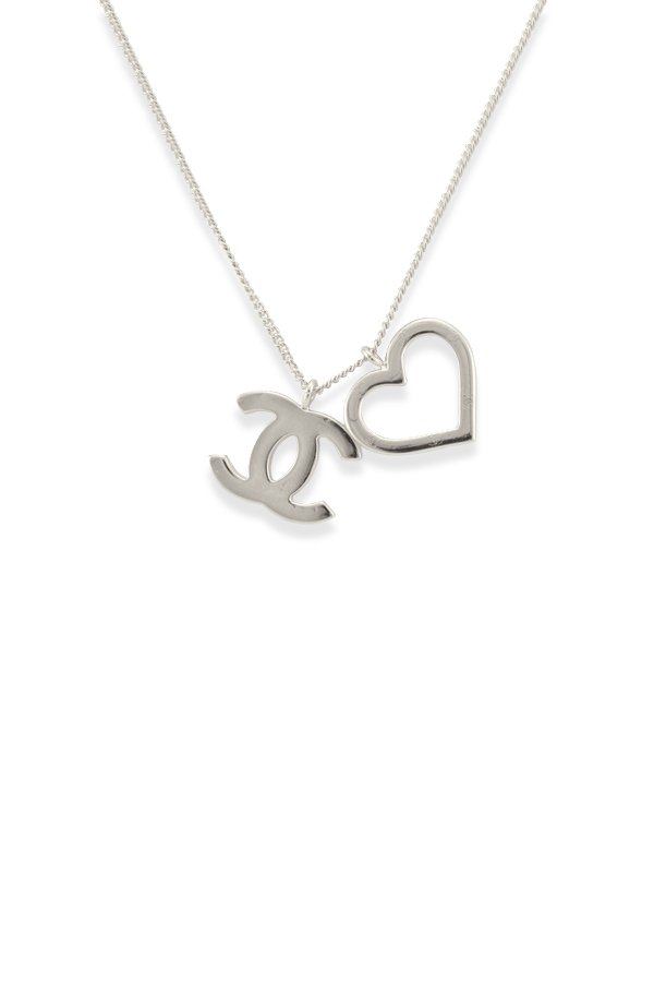 Chanel - CC Open Heart Pendant Necklace  Silver Tone  View 1
