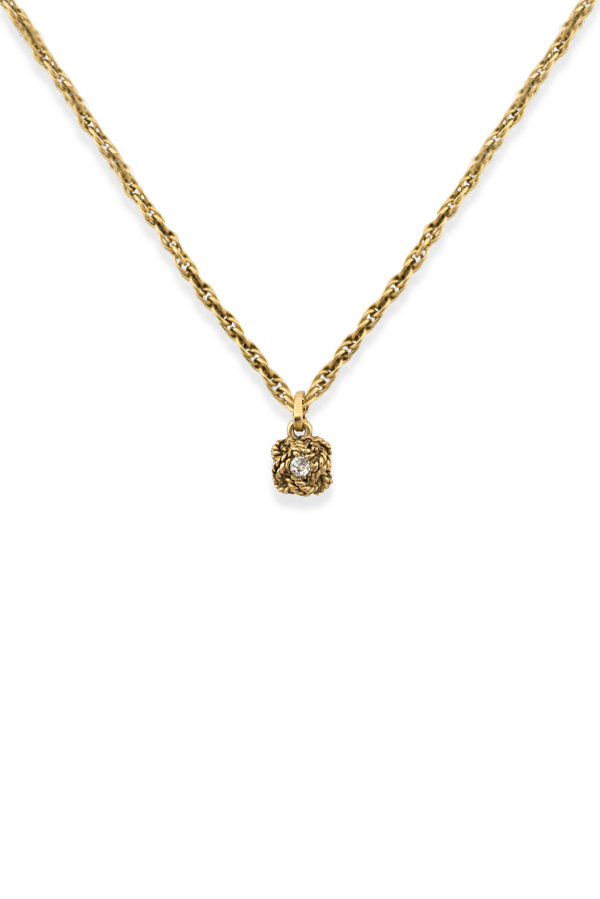 Chanel - Vintage Rope Textured Rhinestone Round Pendant Necklace