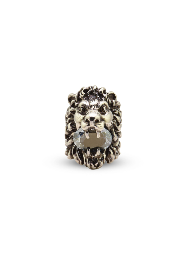 Gucci - Gucci Lion Head Ring with Clear Blue Crystal - Size 5.5