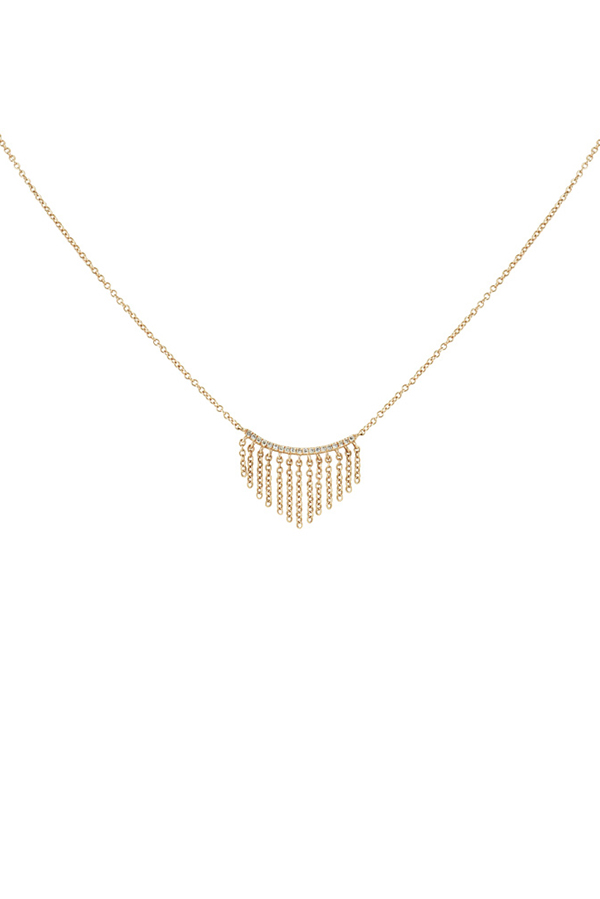 Yu  - Fringe and Diamond Necklace  14k Rose Gold  View 1