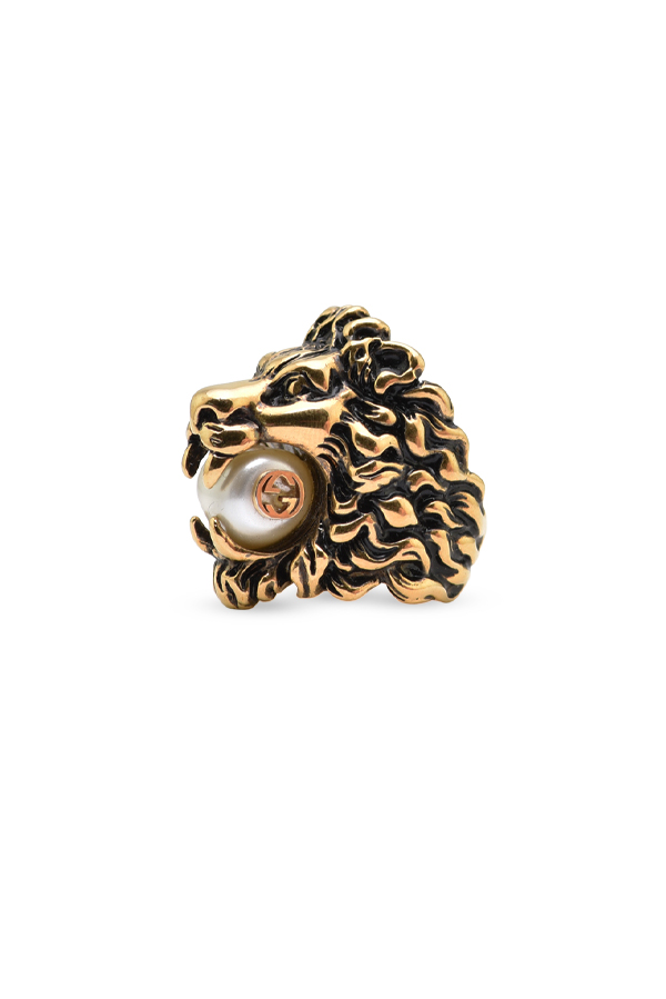 Gucci - Lion Head Ring With Faux Pearl - Size 5