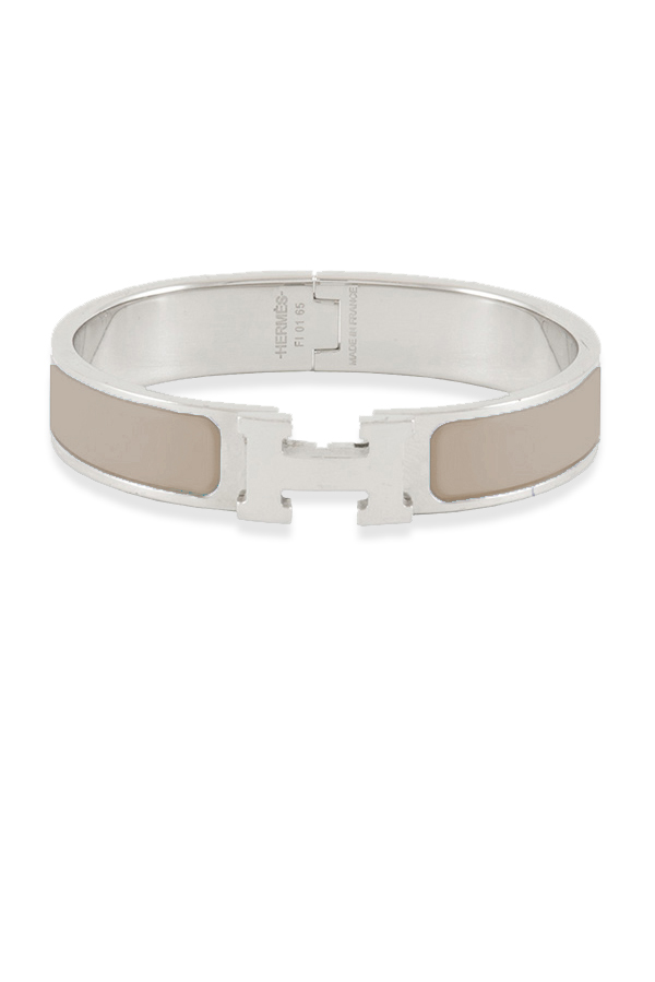 Hermes - Narrow Clic H Bracelet (Taupe/Palladium Plated) - PM