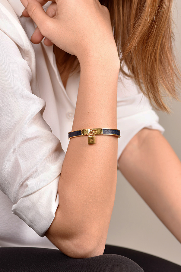 Hermes - Kelly Cadena Lock Bangle (Navy Crocodile)