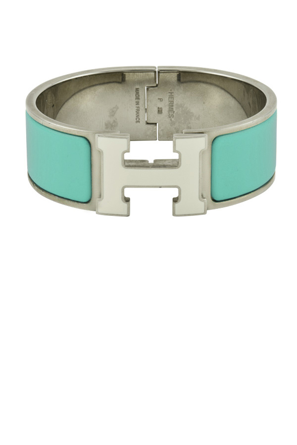 Hermes - Wide Clic H Bracelet (Mint Green and White/Palladium Plated) - PM