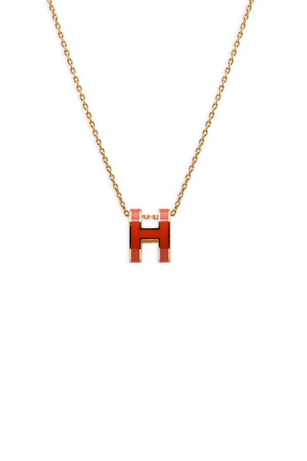Hermes - Pop H Necklace (Orange Coral and Gold)