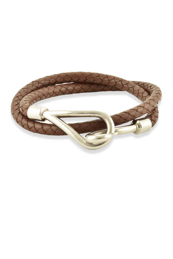 Hermes - 1212452586_Switch Jewelry Hermes Braided Jumbo Hook Wrap Bracelet Choker  Brown  jpg