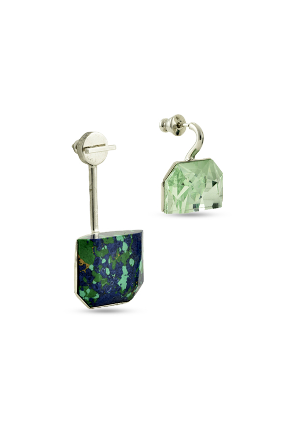 Christian Dior - Set Earrings (Green and Azurite Malachite Stone) - Large
