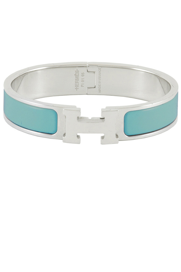 Hermes - Narrow Clic H Bracelet  Teal Palladium Plated  View 1